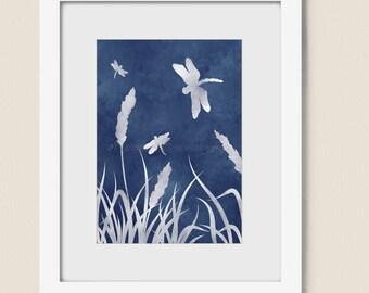 Dark Blue Home decor, Dragonfly Artwork 5 x 7 Nature Print, Wheat Grass Art (77)