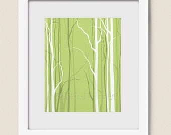 Lime Green Bare Tree Wall Art Living Room Print, Home Office Decor, 8 x 10 Winter Tree Branches (253)