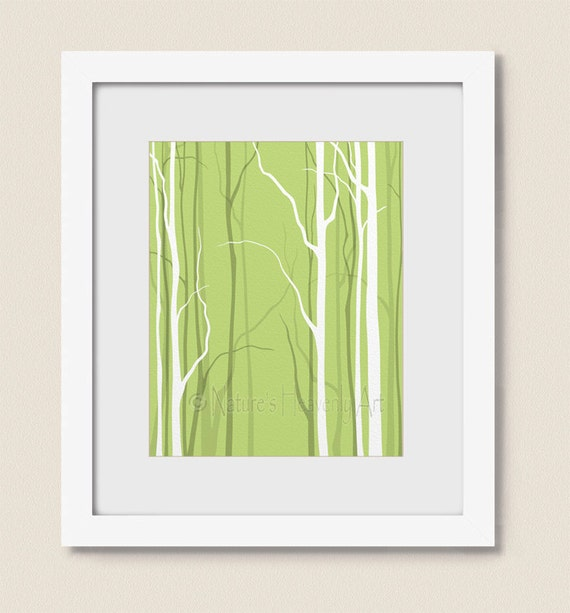 Wall Decor Green : Lime green bare tree wall art living room by