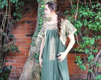 Sage Green and antique gold embroidery Mexican Wedding Dress