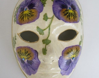 Pansy Paper Mache Venetian Mask Ivory with Purple Pansies
