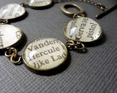 Literary Bracelet, Agatha Christie, Book Jewellery, Marple and Poirot, Graduation Gift, Mother's Day Gift