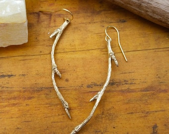 branch earrings brass hanging twig earrings gold nature inspired