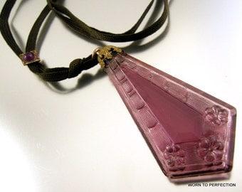 Art Deco Molded Purple Glass Pendant Necklace on Black Ribbon with Slide