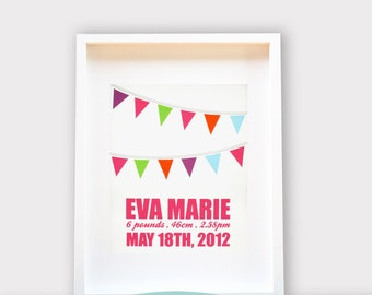 Baby Nursery Art, Bunting, Personalized, Baby Shower Gift 8x10