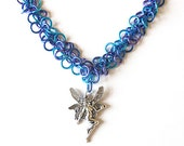 Faerie necklace, Purple and blue chainmaille necklace, Fairy jewelry, Water Faerie, Shaggy Loops weave