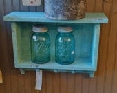OPEN PEGGED SHELF Beaded Board Back in Light Turquoise Primitiques Paint from The Real Milk Paint Co. Grungy Primitive Chippy Paint Finish