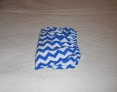 Royal Blue and White Chevron Knit Fitted Baby Crib Sheet