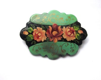 Zhostovo Hand Painted Brooch Floral Brooch Russia