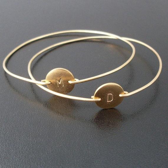 Gold Friendship Bracelet Set, 2 Best Friend Bracelets, Initials Front & Back, Best Friend Gift Idea, Friendship Jewelry, Best Friend Jewelry