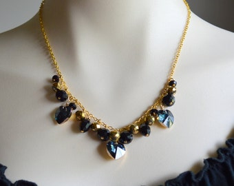 Crystal and gold cluster heart necklace, bib necklace, gold necklace, black crystal necklace,heart jewellery