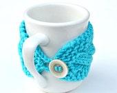Mug cozy knitted coffee tea turqouise
