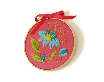 Embroidered wool felt hoop art, Jacobean style,floral, blue flower,deep pink,turquoise