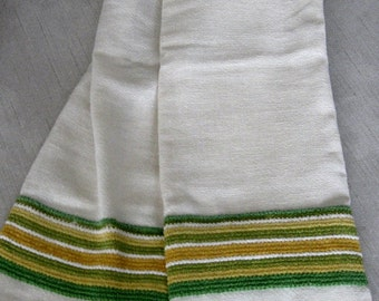 vintage off white kitchen curtains with green and yellow trim
