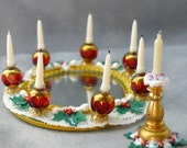 Dollhouse Miniature CHRISTMAS Centerpiece - Ruby Ring of Lights -  1/12 scale