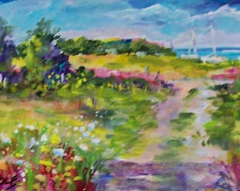 "Summertime Dreams... Original painting 7x14"" on canvas,  ready for you to frame..ALL PROCEEDS go to our local shelter, Tabby House"