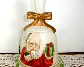 Porcelain Santa Chimer Bell, Bisque Finish, Vintage Christmas, Holiday Decor  (726-13)