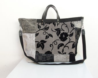 Time to Travel Weekender - Grey, Black, White Leather, Velvet Luggage