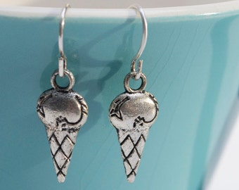 Silver Ice Cream Cone Earrings- Charm Earrings- Summer Earrings