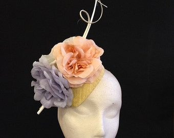 Pastel Flower Twist Percher - Lovely floral piece great for Weddings and Races can be made in other colours