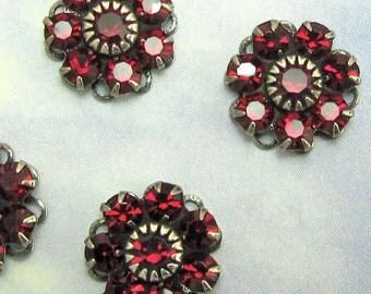 12 mm Siam Deep RED Swarovski Crystal rhinestone flower in antique silver setting 1 pc