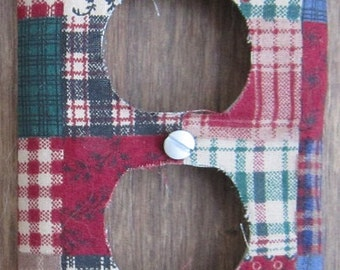 Country Plaid Fabric Covered Outlet Cover