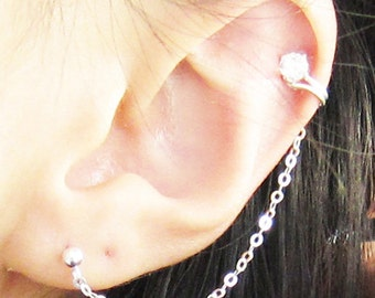 Sterling Silver Plain Cubic Zirconia Cuff Earring