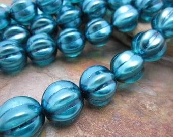 Laguna Satin 14mm Melon Czech Glass Beads