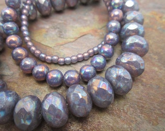 Smoky Plum AB Czech Glass Rondell  6x10mm Beads