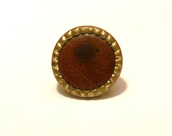 Vintage leather Button Tie Tack for Mens suit fashion accessories Fathers Day gift idea  Mens Christmas  Xmas Stocking Stuffer Birthday Gift