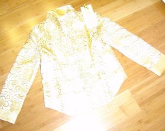 Costume Asian Japanese Oriental jacket pant tans  print womens M Halloween