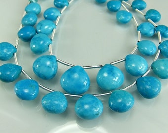 Sale -Turquoise Heart  Briolettes Smooth AAA