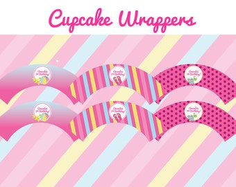 Pool Party Birthday Party - CUPCAKE WRAPPERS - Printable Pool Party Decorations - Printable Cupcake Wrappers