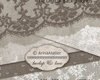 Lace and Burlap Textures - Digital Scrapbooking Papers Fabric Textured Papers Sack Feedsack Background Web Design Blog Linen - Lace texture