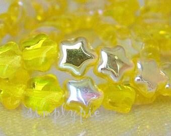 Lemon AB Star Czech Glass Beads 6mm 50