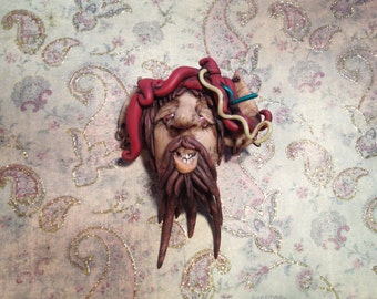Jester Harlow the Pixie Polymer Clay Head Brooch