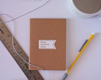 Stocking Stuffer Mini Notebook Coworker Gift Friend Gift Cute Kraft Jotter Recycled