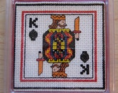 King of Spades Playing Card Cross Stitch Coaster Handmade