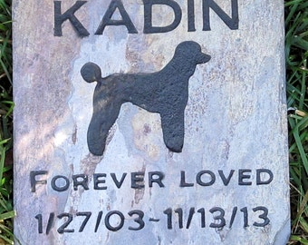 Personalized Pet Memorial Stone Poodle & Other Dog Breeds 6 X 6 Inch Burial Grave Marker