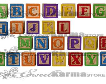 ABC Alphabet Wooden Blocks Digital Photography Prop File #705 Instant Download PNG file