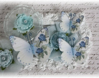 Weathered Blue Butterfly Embellishment Die Cuts for Scrapbooking or Cardmaking, Tag Art,  Mixed Media, Mini Albums