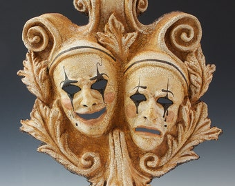 Comedy-Tragedy Proscenium Mask, Plaque
