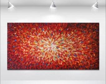 Original abstract painting - by Tatiana Georgieva MADE2ORDER - burnt orange, blue, yellow, red, burgundy.