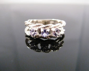 Tanzanite 3 Stone Twisted Wire Sterling Silver Ring