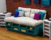 Turquoise Couch Wood pallet furniture for Momoko & Fashion Royalty Playscale Dioramas