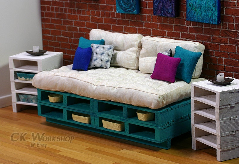 Turquoise Couch Wood pallet furniture for Momoko  Fashion