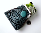 Dark brown and aqua organic coin and credit card purse ... coordinating lining and button