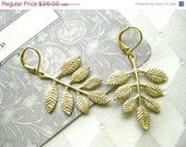 On Sale Matte Gold Leaf Earrings - Boho Rustic Forest