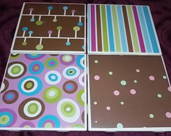 Ceramic Coasters ! Deco Stripes and Dots Ceramic Coaster Set of 4