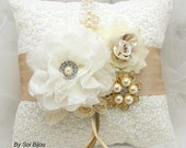 Ring Bearer Pillow, Wedding, Ivory, Tan, Beige, Champagne, Gold, Lace, Brooch, Crystals, Pearls, Vintage Style, Gatsby